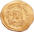 Ancients:Byzantine, Ancients: Justinian I the Great (AD 527-565). AV lightweight solidus (22mm, 3.75 gm, 6h). ...