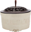Asian:Chinese, A CHINESE BLANC DE CHINE POT WITH CARVED WOOD LID. 6 inches high x7 inches diameter (15.2 x 17.8 cm). ...