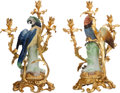 Decorative Arts, Continental:Lamps & Lighting, A PAIR OF LOUIS XVI-STYLE GILT BRONZE AND PORCELAIN FIGURALTHREE-LIGHT CANDELABRUM, 20th century. 19-3/4 inches high (50.2 ...(Total: 2 Items)