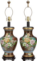 Asian:Chinese, A PAIR OF CHINESE CLOISONNÉ URNS MOUNTED AS LAMPS ON WOOD BASES. 32inches high (81.3 cm). ... (Total: 2 Items)