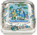 Asian:Chinese, A CHINESE SILVER, ENAMEL AND WOOD COVERED BOX. Marks: (chop marks).4-3/4 x 10 x 10 inches (12.1 x 25.4 x 25.4 cm). ...