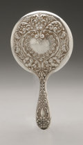 Silver Holloware, American:Mirrors and Vanity-related, An American Silver Hand Mirror. Maker unknown, Early TwentiethCentury. Marked on the front STERLING. 7.5in. long ...