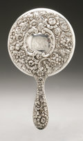 Silver Holloware, American:Mirrors and Vanity-related , An American Silver Hand Mirror. Dominick & Haff, New York, NY,Late Nineteenth Century. Script monogram to the reverse...
