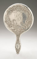 Silver Holloware, American:Mirrors and Vanity-related , An American Silver Hand Mirror and Brush. Whiting Mfg. Co., 1895.Script monogram to the reverse REK, hallmark to ... (Total:2 Items)