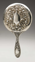 Silver Holloware, American:Mirrors and Vanity-related , An American Silver Hand Mirror. Maker unknown, Early TwentiethCentury. Script monogram to the reverse FRF, marked...