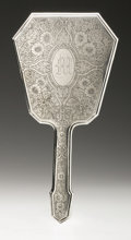 Silver Holloware, American:Mirrors and Vanity-related , An American Silver Hand Mirror and Brush. Foster & Bailey,Providence, RI, Late Nineteenth Century. Monogram to the re...(Total: 2 Items)