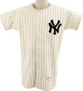 Baseball Collectibles:Uniforms, 1949 Tommy Henrich Game Worn Jersey. This classic home white pinstriped flannel was always a welcome sight to fans in the B...