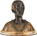 Bronze:European, A FRENCH PATINATED AND GILT BUST ON AN ONYX BASE, After RolandColombo-Grange, Paris, France, circa 1905. Marks: GrangeCo...
