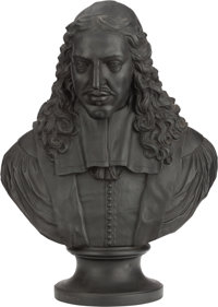 A WEDGWOOD BASALT BUST OF JOHAN DE WITT, 19th century Marks: WEDGWOOD 25 inches high (63.5 cm)