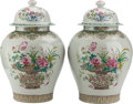 Asian:Chinese, A PAIR OF CHINESE PAINTED GINGER JARS. 22-1/2 inches high (57.2cm). ... (Total: 2 Items)