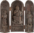 Asian:Chinese, A CHINESE CARVED WOOD TRAVELING SHRINE. 8-1/4 inches high (21.0cm). ...