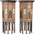 Ceramics & Porcelain, A PAIR OF MOORISH INLAID MOTHER OF PEARL, EBONY AND BONE DECAGON SIDE TABLES. 36 x 18-1/2 x 18-1/2 inches (91.4 x 47.0 x 47.... (Total: 2 Items)
