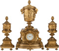 Decorative Arts, French:Other , A THREE PIECE FRENCH GILT BRONZE DOUBLE CLOCK GARNITURE, 19thcentury. Marks: LENOIR, A. PARIS. 24 x 13 x 8-1/2 inches(... (Total: 3 Items)