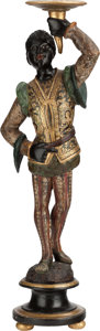 Decorative Arts, Continental:Other , A VENETIAN CARVED AND PAINTED BLACKAMOOR FIGURE, 19th century.29-1/2 inches high (74.9 cm). ...