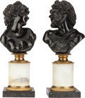 Bronze:European, A PAIR OF PATINATED AND GILT BRONZE BUSTS ON MARBLE STANDS, 20th century. 12-1/4 inches high (31.1 cm). ... (Total: 2 Items)