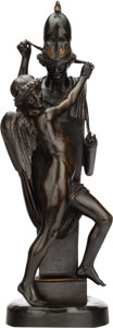 Bronze:European, A PATINATED BRONZE FIGURAL GROUP, 20th century. 29-1/2 inches high (74.9 cm). ...
