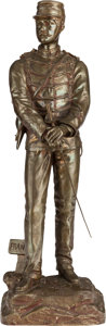 Bronze:European, A BRONZE FRANCO-PRUSSIAN WAR SOLDIER AFTER CHARLES ANFRIE, late 19th century. Marks: C. Anfrie, On Vielle. 23-1/2 inches...
