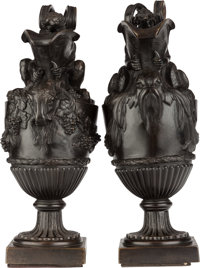 A PAIR OF BRONZE WATER AND WINE EWERS AFTER JOHN FLAXMAN 17-3/4 inches high (45.1 cm)