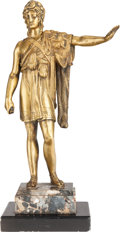Bronze:European, A NEOCLASSICAL GILT BRONZE FIGURE ON MARBLE BASE, 20th century.15-3/4 inches high (40.0 cm). ...