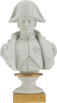 A FRENCH BISQUE PORCELAIN BUST OF NAPOLEON, 19th century Marks: Mpc, Imple de Sèvres 11 inches high