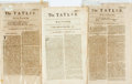 Books:Periodicals, [Newspapers]. Isaac Bickerstaff. The Tatler. Three issues from 1710. Single folio leaf, with toning and wear to edge...