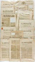 Books:Periodicals, [Newspapers]. Group of Thirteen Antique Newspapers. Most are toned,with some foxing. All have folding creases. Very good. ...