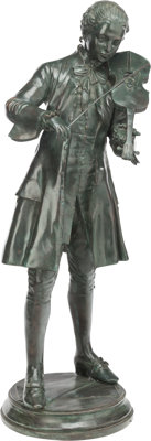 A LARGE PATINATED BRONZE STANDING FIGURE, late 19th century 61 x 20 x 24 inches (154.9 x 50.8 x 61.0 cm)