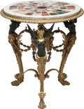 Furniture : French, A FRENCH NEOCLASSICAL-STYLE GILT AND PATINATED BRONZE TABLE WITHSPECIMEN MARBLE TOP, 20th century. 31-1/2 inches high x 28 ...