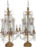 Decorative Arts, Continental:Lamps & Lighting, A PAIR OF LOUIS XVI-STYLE GIRANDOLES, early 20th century. 31 x 12 x12 inches (78.7 x 30.5 x 30.5 cm). ... (Total: 2 Items)