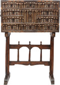 Furniture : Continental, A SPANISH BAROQUE WALNUT AND INLAID BONE VARGUENO ON ASSOCIATED STAND, 17th century. 52-1/4 x 35-1/2 x 15 inches (132.7 x 90... (Total: 2 Items)
