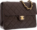"Luxury Accessories:Bags, Chanel Dark Brown Quilted Lambskin Leather Flap Bag with GoldHardware. Very Good to Excellent Condition. 8"" Width x7..."