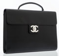 "Luxury Accessories:Bags, Chanel Black Leather Briefcase with Silver Hardware. ExcellentCondition. 14.5"" Width x 11"" Height x 2"" Depth. ..."