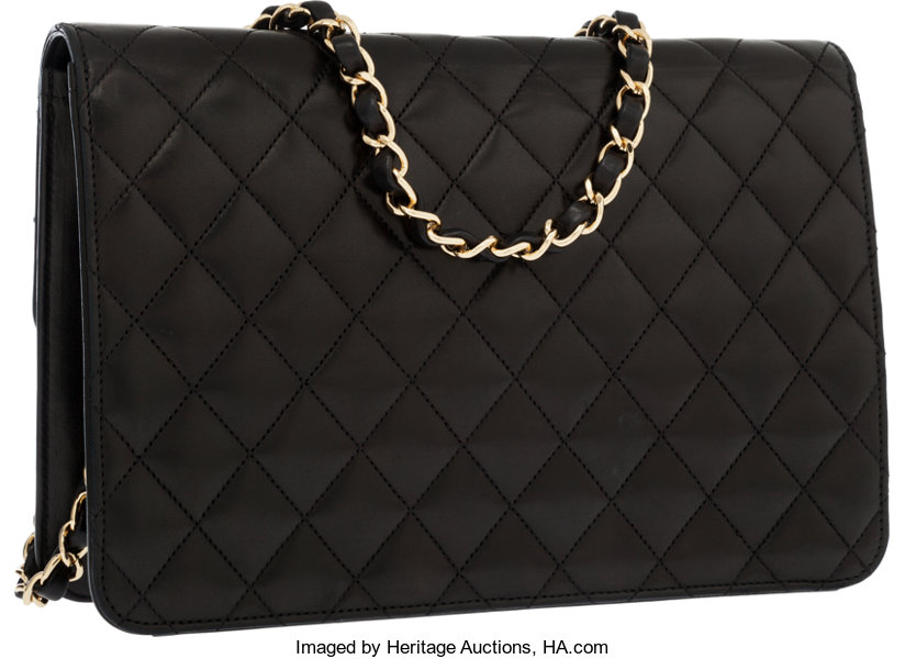 8fb3b905c152 Chanel Black Quilted Lambskin Leather Medium Flap Bag with