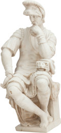 Decorative Arts, Continental:Other , A CONTINENTAL WHITE MARBLE LORENZO DE' MEDICI AFTER MICHELANGELO,19th century. 32-1/2 x 13 x 15 inches (82.6 x 33.0 x 38.1 ...