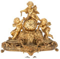 Decorative Arts, French:Other , A LOUIS XV-STYLE GILT BRONZE FIGURAL CLOCK, 19th century. 25-1/2 x29-1/2 x 11-1/2 inches (64.8 x 74.9 x 29.2 cm). ...