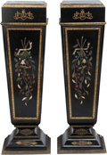 Decorative Arts, French:Other , A PAIR OF NAPOLEON III-STYLE EBONIZED WOOD, GILT BRONZE ANDHARDSTONE PEDESTALS WITH MARBLE TOP, 19th century. 23-1/2 x 14 x...(Total: 2 Items)