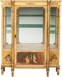 A LOUIS XVI-STYLE GILT WOOD, PAINTED AND GILT BRONZE MOUNTED VITRINE, 19th century 60-1/2 x 47 x 16 inches (153.7