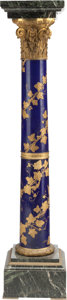 Furniture , A NAPOLEON III-STYLE PORCELAIN, MARBLE AND GILT BRONZE MOUNTED PEDESTAL, 20th century. 49-1/2 x 10-1/2 x 10-1/2 inches (125....