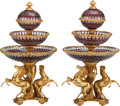 Decorative Arts, Continental:Other , A PAIR OF LOUIS XV-STYLE GILT BRONZE AND CUT-GLASS EPERGNES, 20thcentury. 31-1/2 x 16-1/2 x 16-1/2 inches (80.0 x 41.9 x 41...(Total: 2 Items)