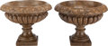 Decorative Arts, Continental:Other , A PAIR OF NEOCLASSICAL MARBLE GARDEN URNS, 20th century. 16 incheshigh x 19 inches diameter (40.6 x 48.3 cm). ... (Total: 2 Items)