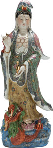 Asian:Chinese, A LARGE CHINESE PAINTED AND ENAMELED PORCELAIN GUANYIN FIGURE. 44inches high (111.8 cm). ...