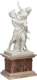 Decorative Arts, Continental:Other , A CARRARA MARBLE GROUP OF THE RAPE OF THE SABINE WOMEN PRESENTED ONA CARVED MARBLE AND TRAVERTINE BASE, 20th century. 48 x ... (Total:2 Items)