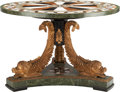 Furniture : Continental, A NEOCLASSICAL-STYLE SPECIMEN MARBLE TABLE. 30 inches high x 45inches diameter (76.2 x 114.3 cm). ...