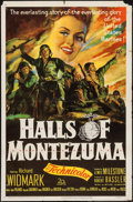 "Movie Posters:War, Halls of Montezuma (20th Century Fox, 1951). One Sheet (27"" X 41"").War.. ..."