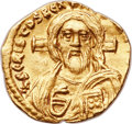 Ancients:Byzantine, Ancients: Justinian II, first reign (AD 685-695). AV tremissis (16mm, 1.40 gm, 6h)....