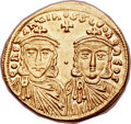Ancients:Byzantine, Ancients: Constantine V Copronymus (AD 741-775), with Leo IV (AD751-775). AV solidus (21mm, 4.44 gm, 6h)....