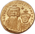 Ancients:Byzantine, Ancients: Constans II Pogonatus (AD 641-668), with Constantine IV(AD 654-685). AV solidus (20mm, 4.43 gm, 6h)....