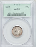 Bust Dimes: , 1833 10C AU58 PCGS. PCGS Population (31/124). NGC Census: (40/161). Mintage: 485,000. Numismedia Wsl. Price for problem fre...
