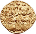 Ancients:Byzantine, Ancients: Leo IV the Khazar (AD 775-780), with Constantine VI, LeoIII, and Constantine V. AV solidus (19mm, 4.41 gm, 6h). ...