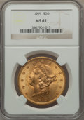 Liberty Double Eagles: , 1895 $20 MS62 NGC. NGC Census: (9092/3924). PCGS Population(6264/2030). Mintage: 1,114,656. Numismedia Wsl. Price for prob...